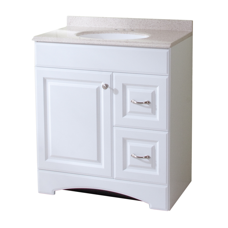 Shop style selections almeta 30 in x 18 in white integral - White bathroom vanity with marble top ...