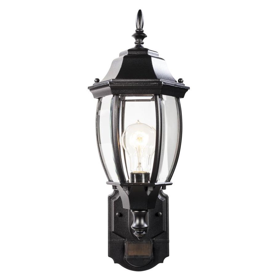 Secure Home 14 375 In H Black Medium Base E 26 Outdoor Wall Light In The Outdoor Wall Lights Department At Lowes Com
