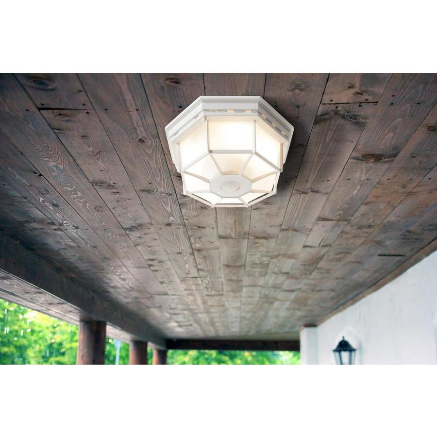 Secure Home 11 9 In W White Outdoor Flush Mount Light In The Outdoor Flush Mount Lights Department At Lowes Com