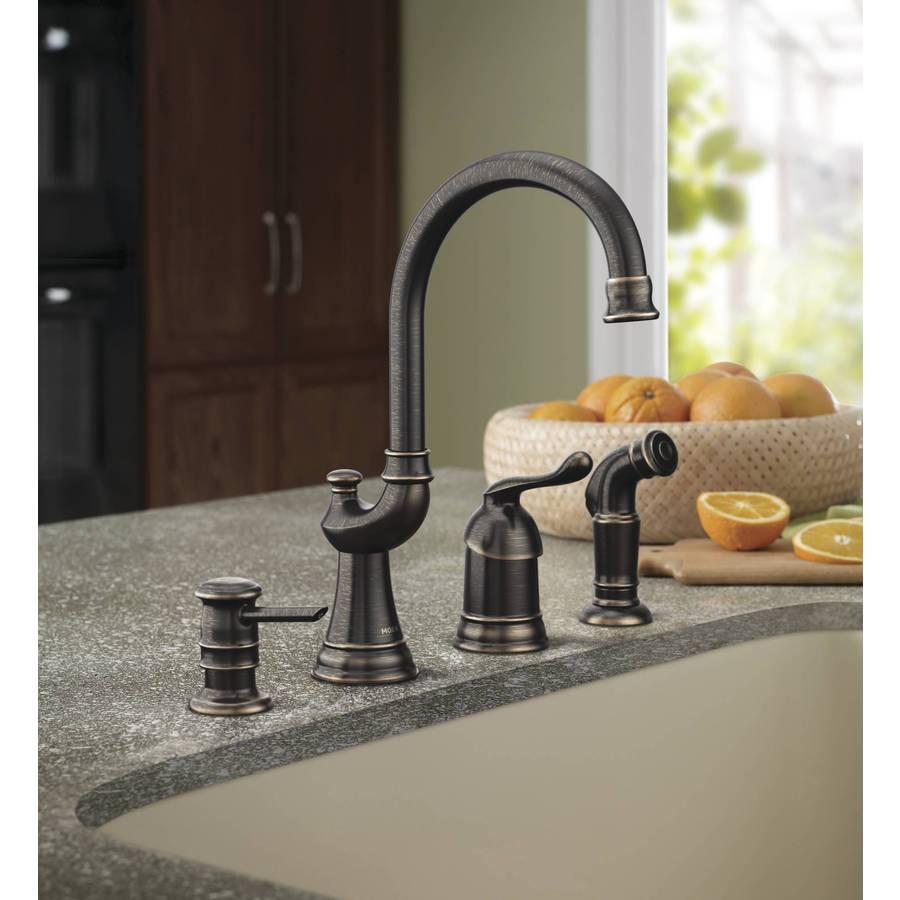 Moen Muirfield Mediterranean Bronze 1 Handle Deck Mount High Arc Kitchen Faucet In The Kitchen Faucets Department At Lowes Com