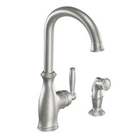 Moen brantford classic stainless 1 handle high arc kitchen - Mico designs seashore kitchen faucet ...