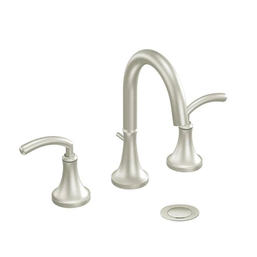 Shop moen icon brushed nickel 2 handle widespread - Brushed nickel bathroom sink faucet ...