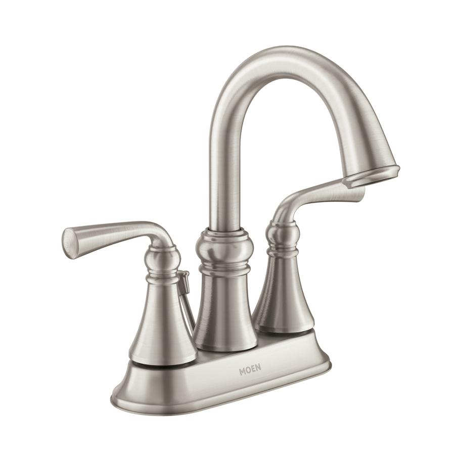 Shop moen wetherly spot resist brushed nickel 2 handle 4 - Brushed nickel bathroom sink faucet ...