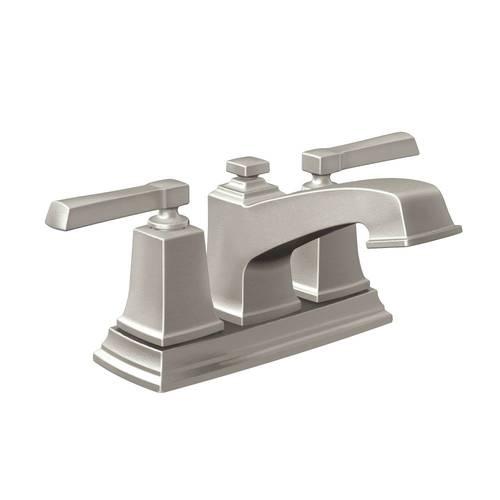 Moen Boardwalk Spot Resist Brushed Nickel 2-Handle 4-in Centerset WaterSense Bathroom Sink Faucet with Drain WS84800SRN