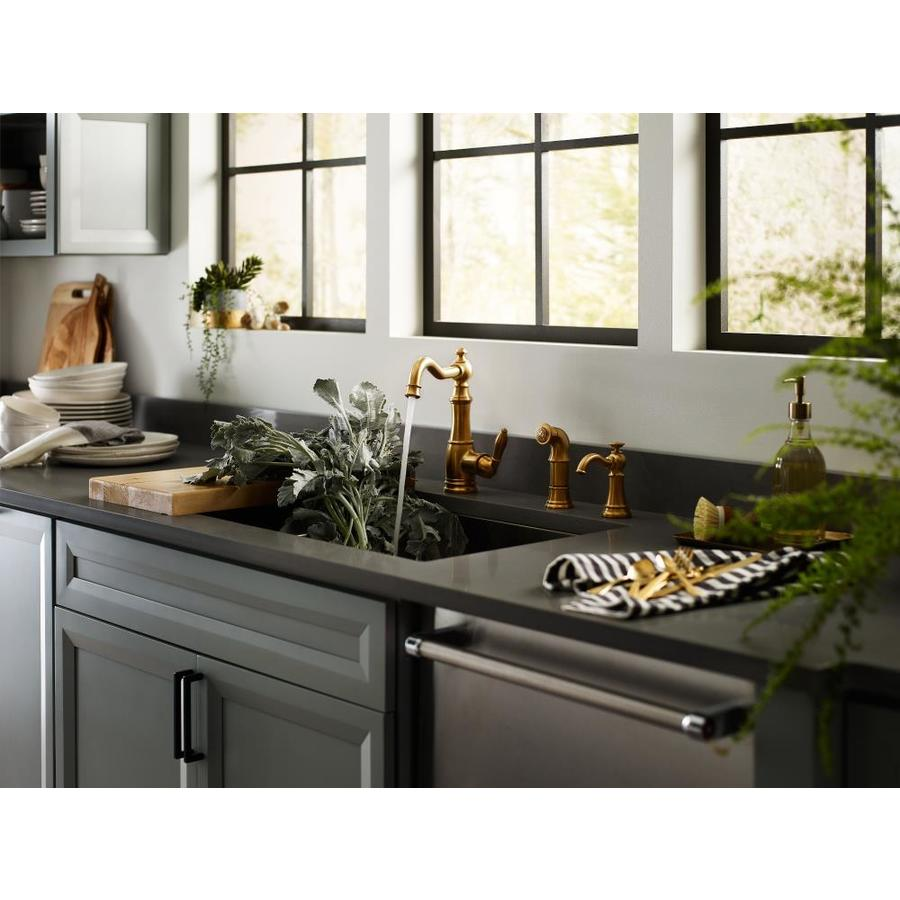 Moen Weymouth Brushed Gold 1 Handle Deck Mount High Arc Handle Kitchen Faucet In The Kitchen Faucets Department At Lowes Com