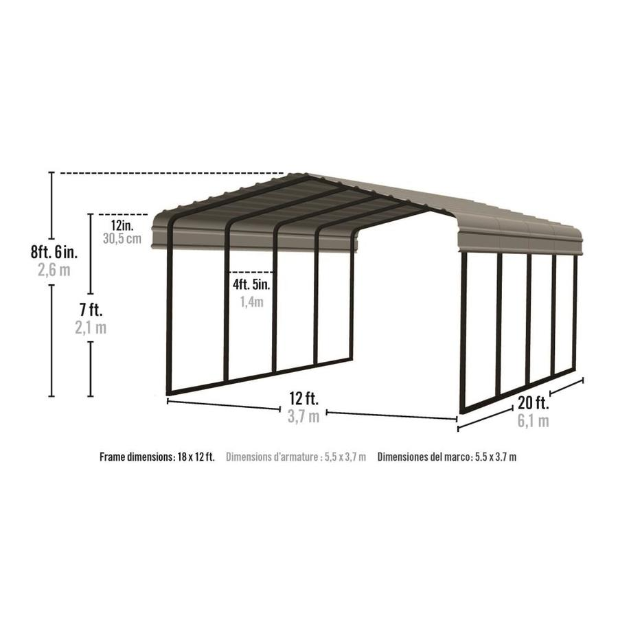 Arrow 12 Ft X 20 Ft Eggshell Metal Carport In The Carports Department At Lowes Com