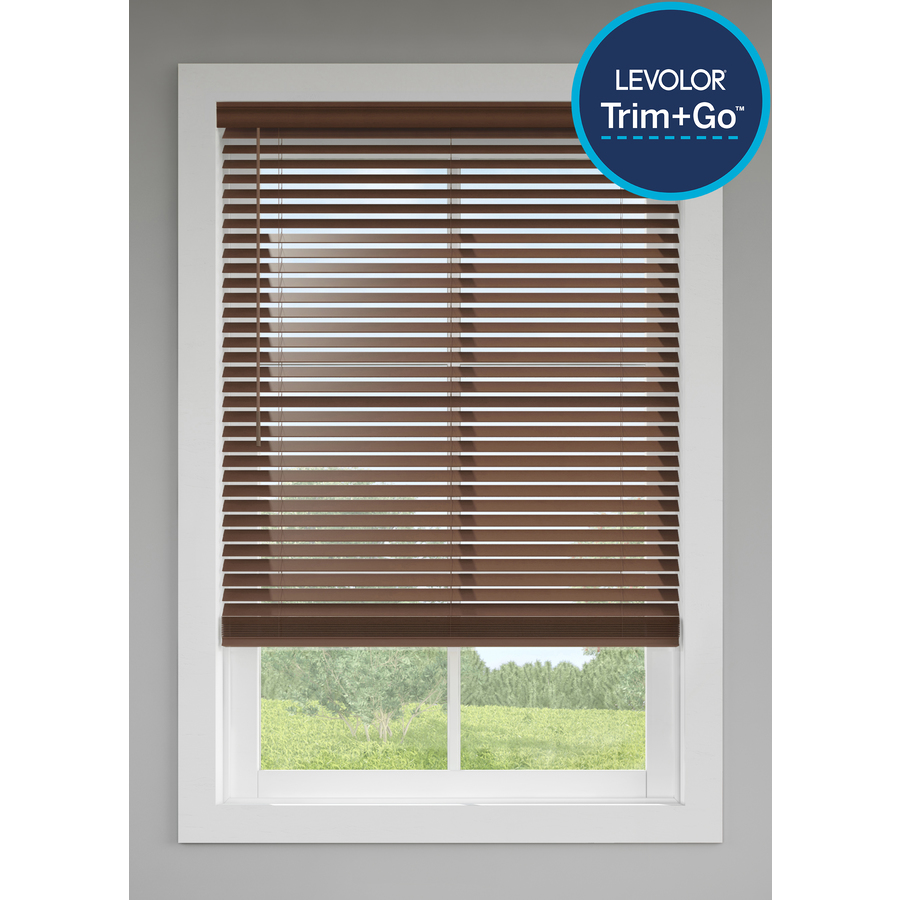 Levolorlevolor Trim Go 2 In Slat Width 35 In X 64 In Cordless Walnut Faux Wood Room Darkening Faux Wood Blinds In Brown 2030453 Dailymail