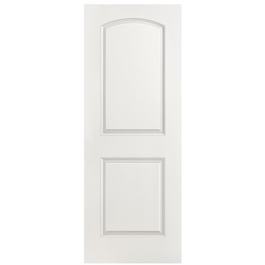 Masonite Roman 30-in x 80-in (Primed) 2-Panel Round Top Hollow Core Molded Composite Slab Door in White | 743379