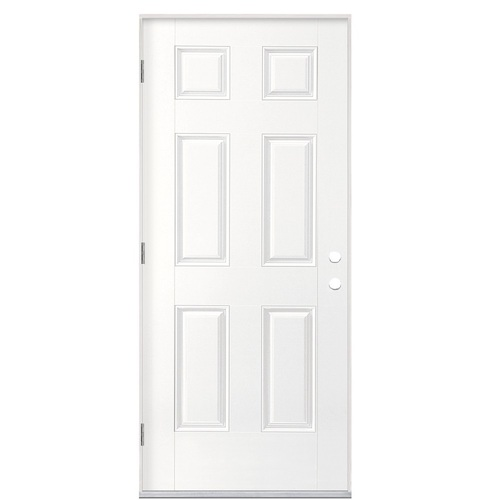 Masonite Right Hand Outswing Primed Fiberglass Prehung Entry Door With  Insulating Core (Common:
