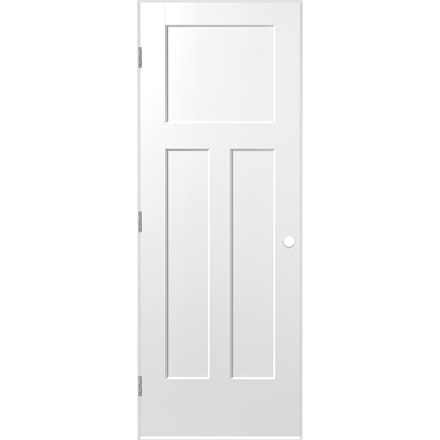 Masonite Pre-Hung Door 30-in x 80-in Primed White 3-Panel Craftsman Solid Core Molded Composite Pre-Hung Door in Off-White | 1164095