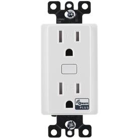 GE Z-Wave Plus 15-Amp 120-Volt Wireless White Recessed Indoor Decorator Wall Tamper Resistant Outlet 14288