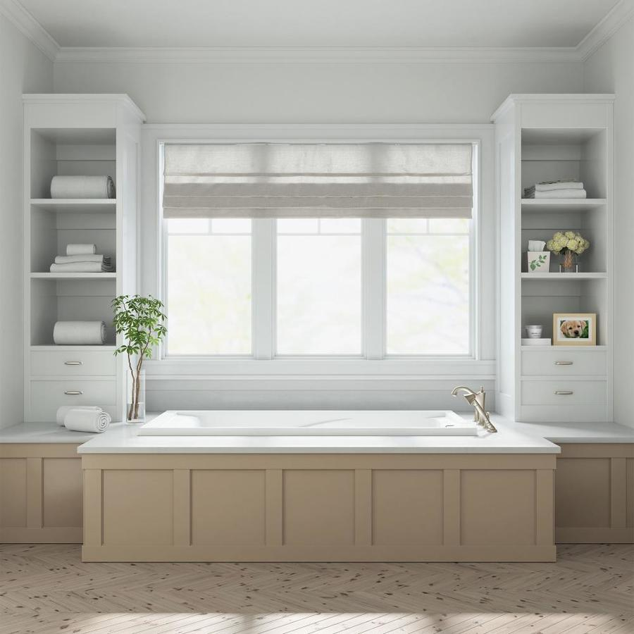 American Standard Evolution 36 In W X 72 In L Arctic Acrylic Hourglass Reversible Drain Drop In Soaking Bathtub In The Bathtubs Department At Lowes Com