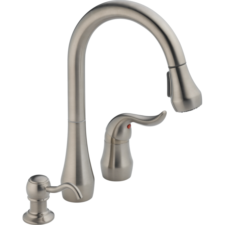 clearance kitchen faucets shop peerless stainless 1 handle pull down kitchen faucet at lowes com 3755