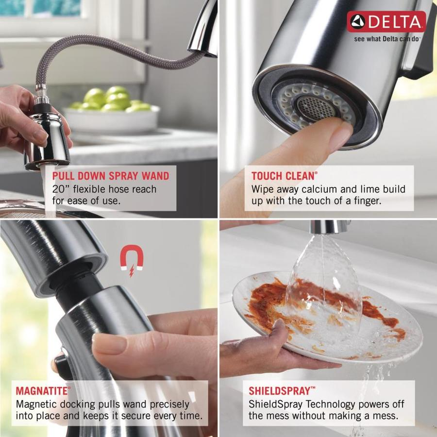 Delta Addison Chrome 1 Handle Deck Mount Pull Down Handle Kitchen Faucet Deck Plate Included In The Kitchen Faucets Department At Lowes Com