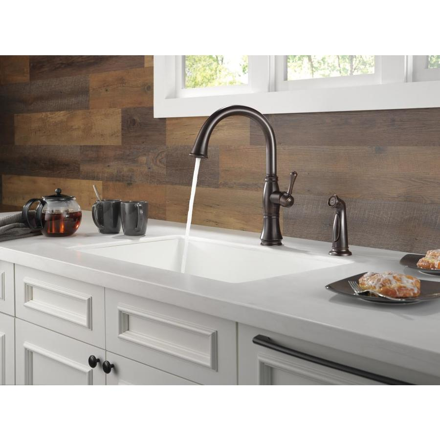 Delta Cassidy Venetian Bronze 1 Handle Deck Mount High Arc Handle Kitchen Faucet In The Kitchen Faucets Department At Lowes Com