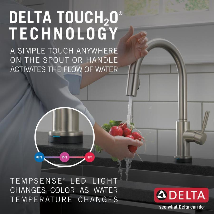 Delta Trask Touch2o Spotshield Stainless 1 Handle Deck Mount Pull Down Touch Kitchen Faucet Deck Plate Included In The Kitchen Faucets Department At Lowes Com