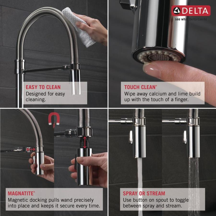 Delta Trask Pro Arctic Stainless 1 Handle Deck Mount Pull Down Handle Kitchen Faucet In The Kitchen Faucets Department At Lowes Com