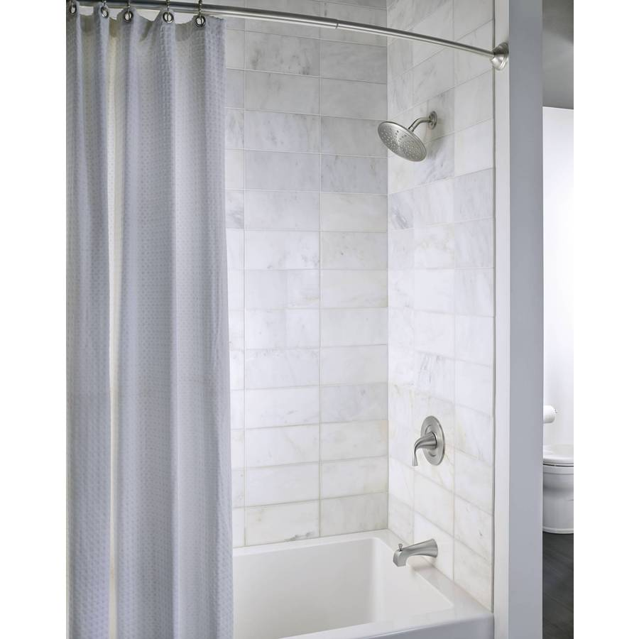 Moen 72 In Brushed Nickel Curved Adjustable Shower Curtain Rod In The Shower Rods Department At Lowes Com
