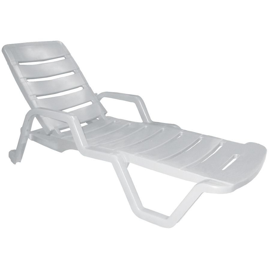 - Adams USA White Stackable Plastic Stationary Chaise Lounge Chair(s