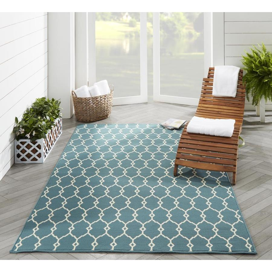 Momeni Baja 6 X 9 Blue Indoor Outdoor Trellis Area Rug In The Rugs Department At Lowes Com