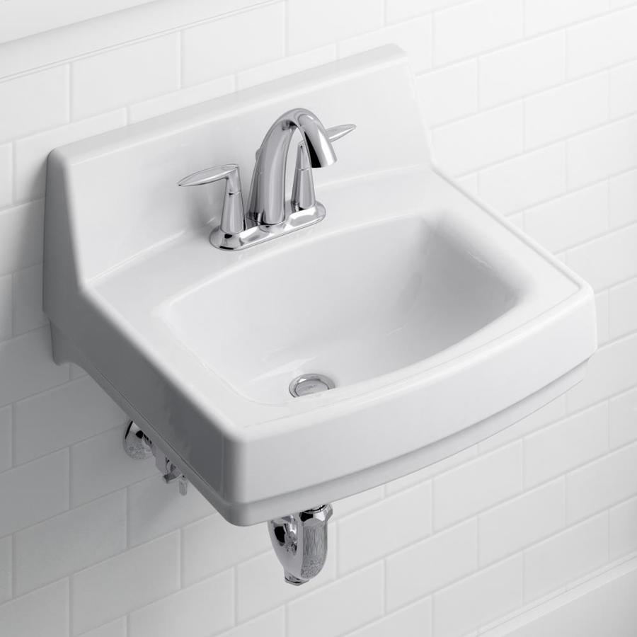Kohler Greenwich White Wall Mount Rectangular Bathroom Sink With Overflow Drain 20 75 In X 18 25 In In The Bathroom Sinks Department At Lowes Com