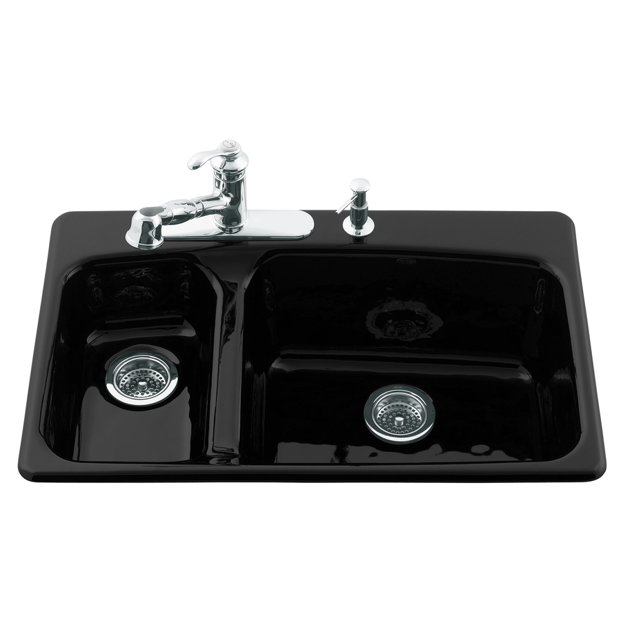 kohler double kitchen sink shop kohler lakefield basin drop in enameled cast 6682