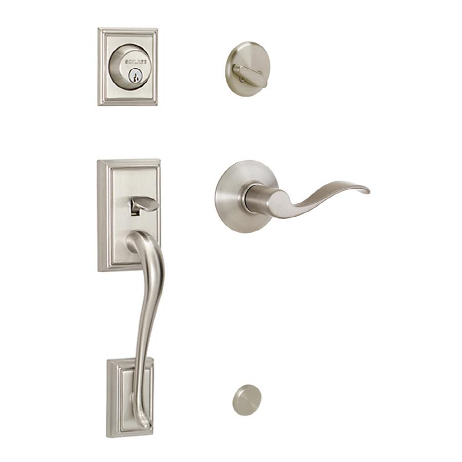 Shop schlage addison satin nickel single lock keyed entry - Lowes exterior door installation cost ...