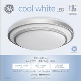 Ge 19-In W Brushed Nickel Acrylic Semi-Flush Mount Light 36864