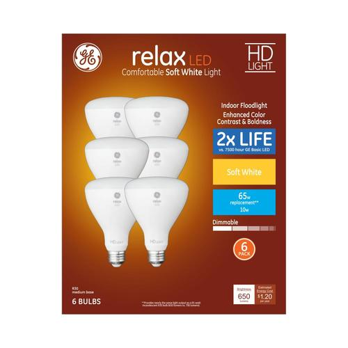 6-Pack GE Relax 65W Equivalent Dimmable Warm White Br30 LED Light Bulb