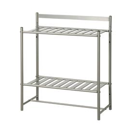 Display Product Reviews For Slat Style Tier Satin Nickel Metal Bathroom  Shelf