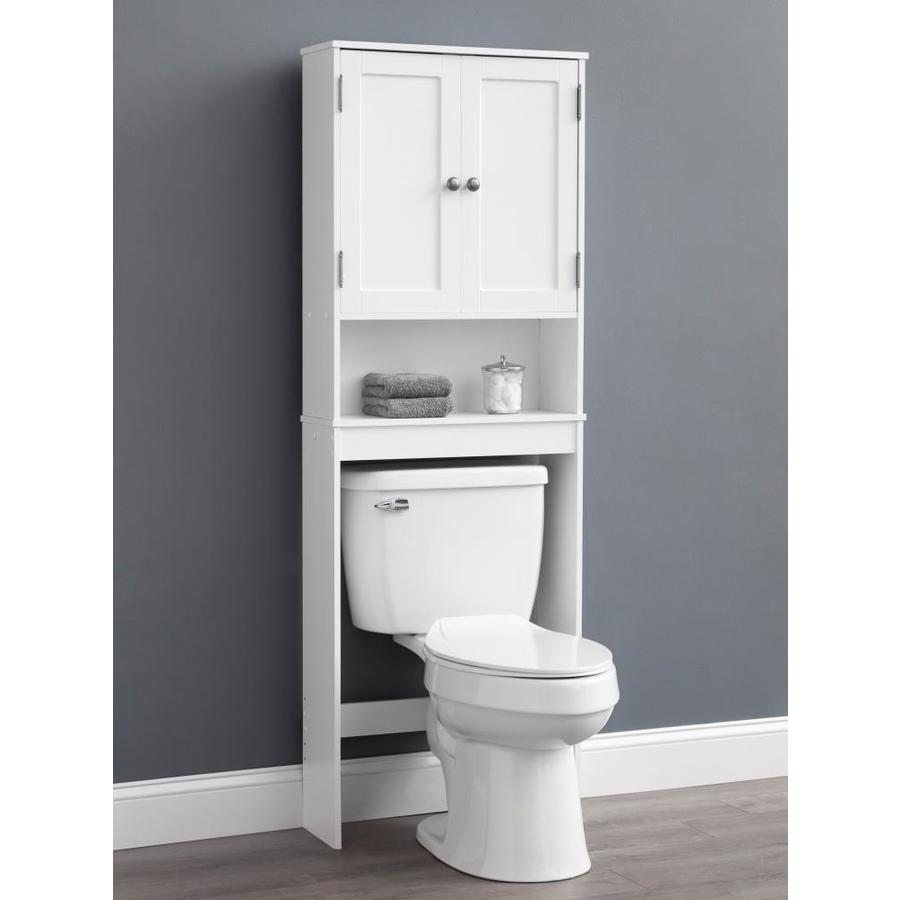 Style Selections 22 95 In W X 64 25 In H X 7 32 In D White Mdf Over The Toilet Etagere In The Etageres Department At Lowes Com
