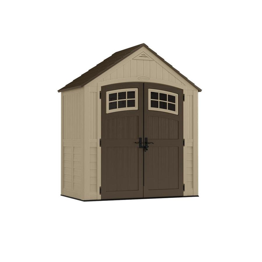 Suncast (Common: 4-ft x 7-ft; Actual Interior Dimensions: 6.75-ft x 18.659-ft) Sutton Storage Shed in Brown | BMS7491D