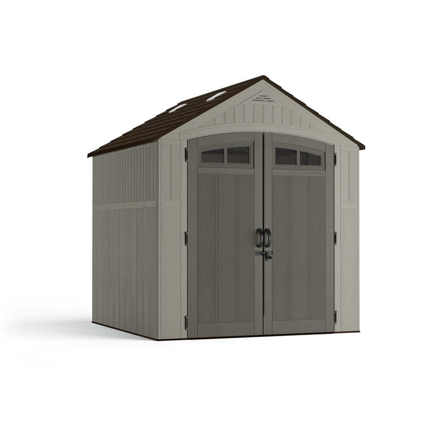 7-ft x 7-ft  Resin Storage Shed Gable Storage Shed in Gray | - CRAFTSMAN CMXRSSC7750