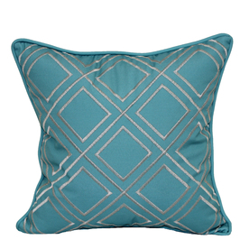 allen + roth Teal and White Geometric Square Throw Pillow Outdoor Decorative Pillow 05136002