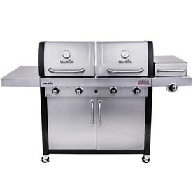 Char-Broil Commercial Stainless/Black 4-Burner Liquid Propane And Natural Gas Infrared Gas Grill With 1 Side Burner 4632