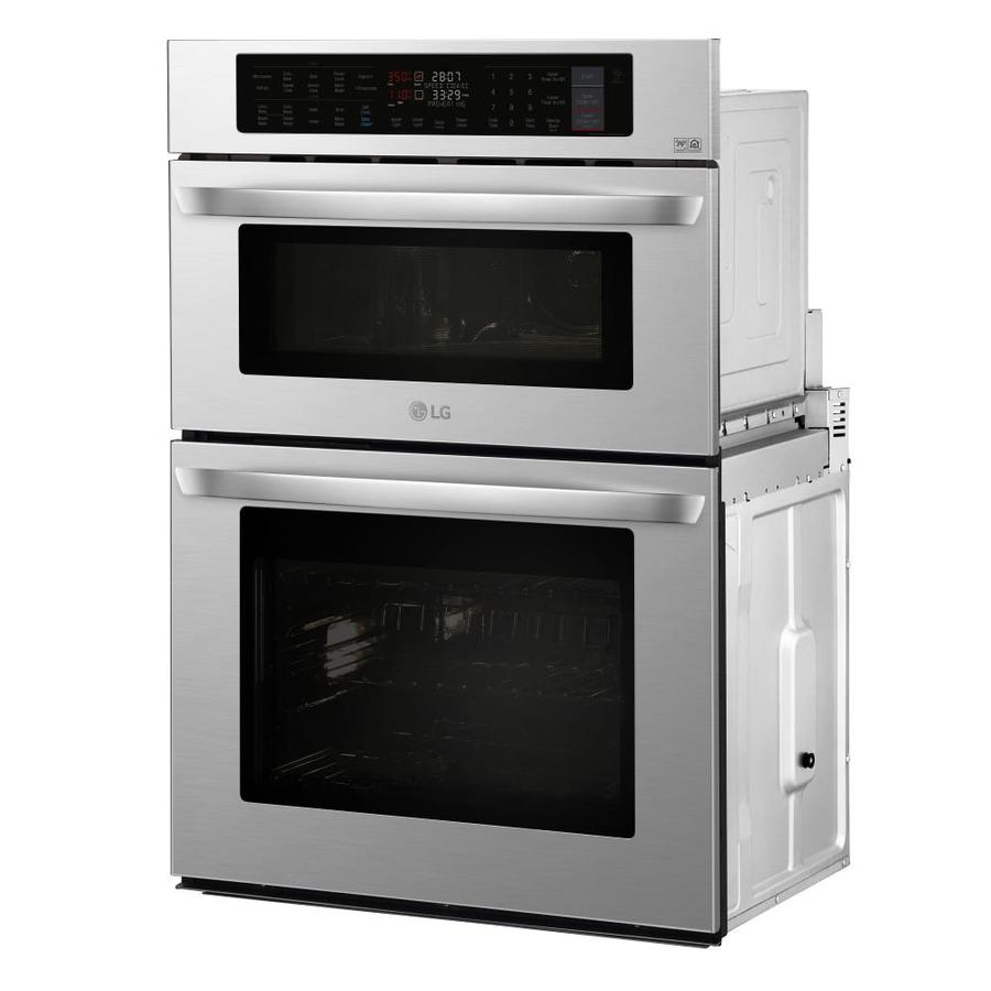 Lg 30 In Self Cleaning Convection Microwave Wall Oven Combo Stainless Steel The Combinations Department At Lowes