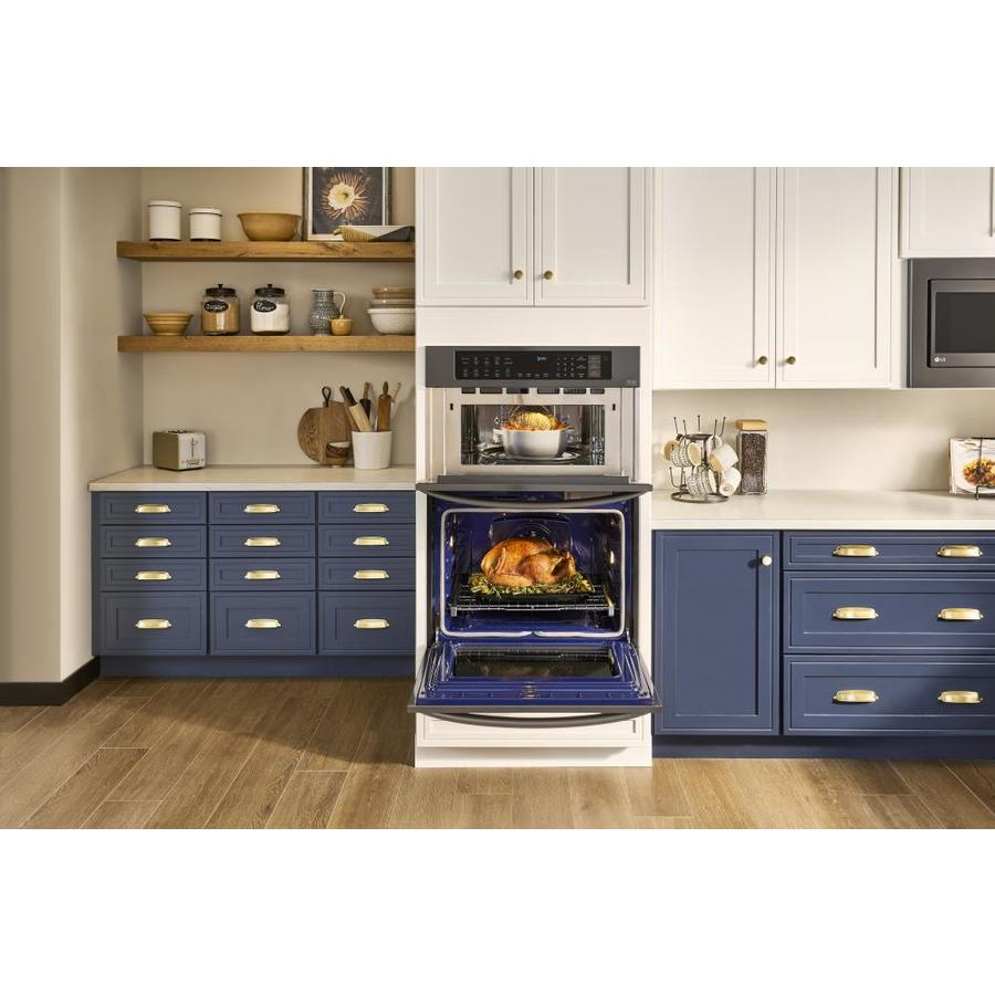 Lg 30 In Self Cleaning Convection Microwave Wall Oven Combo Black Stainless Steel The Combinations Department At Lowes