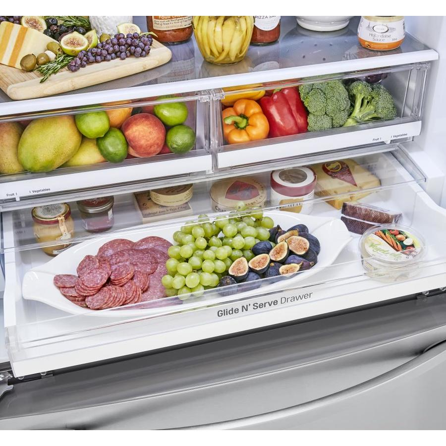 Lg 22 8 Cu Ft Counter Depth French Door Refrigerator With Ice Maker Printproof Stainless Steel Energy Star In The French Door Refrigerators Department At Lowes Com