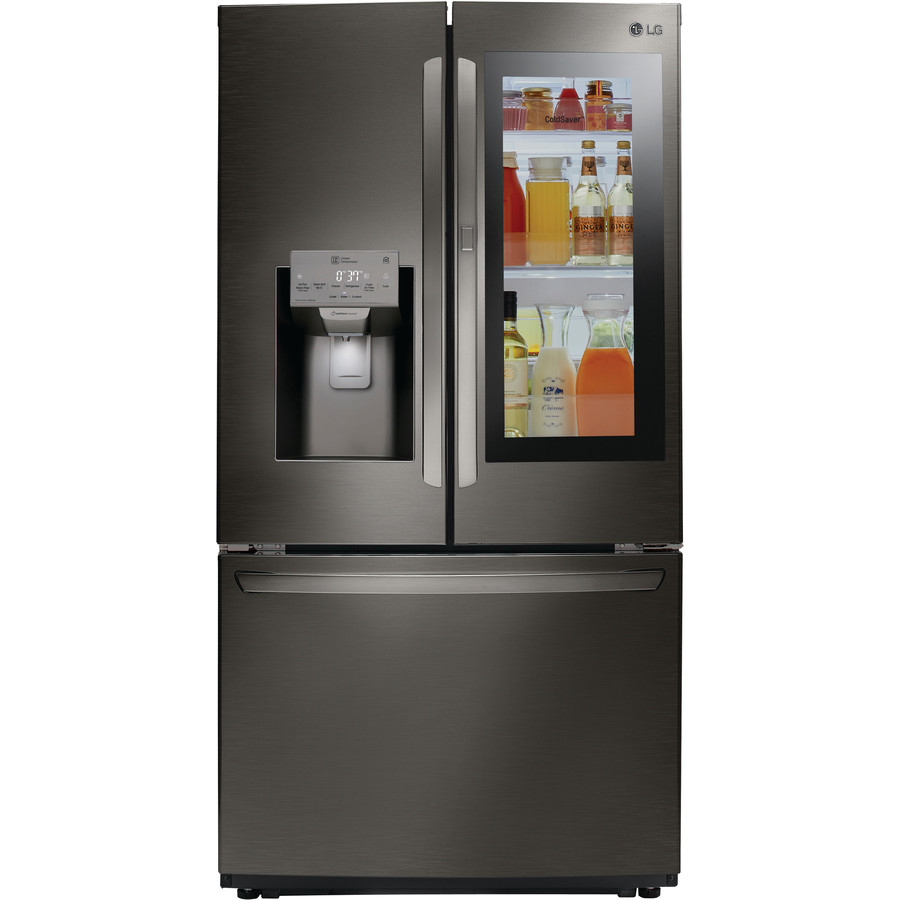LG InstaView Smart Wi-Fi Enabled 21.9-cu ft Counter-Depth French Door Refrigerator with Dual Ice Maker and Door within Door Printproof Black