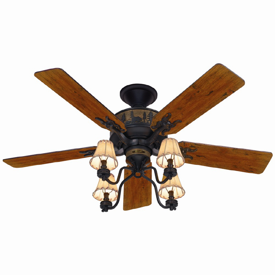 Shop Hunter 52-in Adirondack Bronze Ceiling Fan With Light