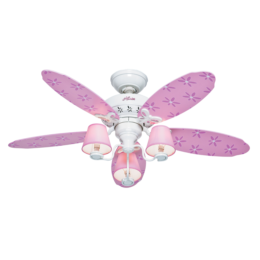 Shop Hunter Dreamland  In White And Pink Kids Downrod Or Flush Mount Ceiling Fan With Light