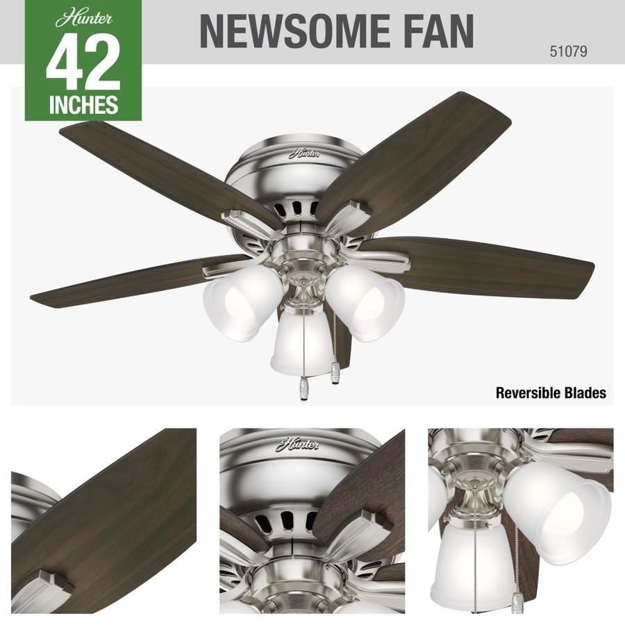 Hunter Newsome Brushed Nickel 42 In Led Indoor Flush Mount Ceiling Fan With Light Kit 5 Blade In The Ceiling Fans Department At Lowes Com