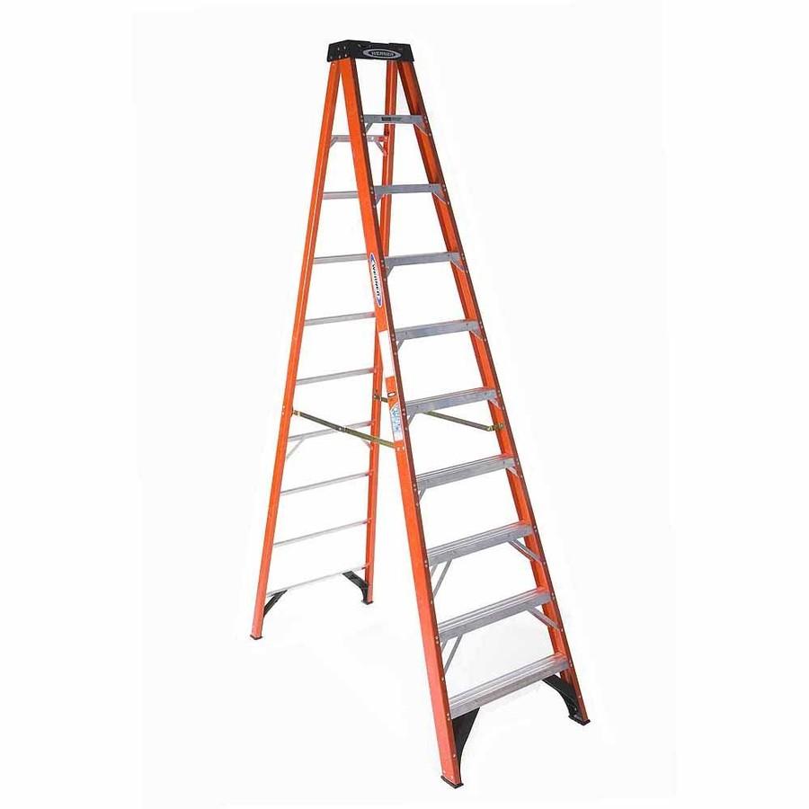 Shop Werner 10 Ft Fiberglass 300 Lbs Type Ia Step Ladder