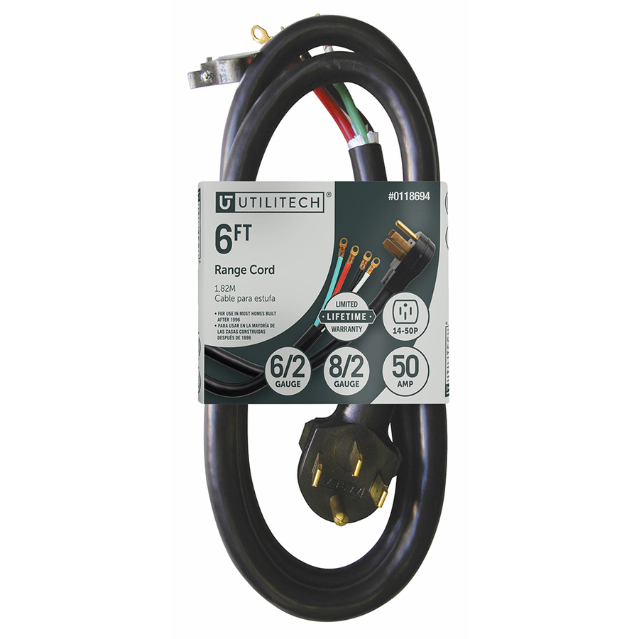 Shop Utilitech 6-ft 50-Amp 6-Gauge Black Indoor Range Extension Cord ...