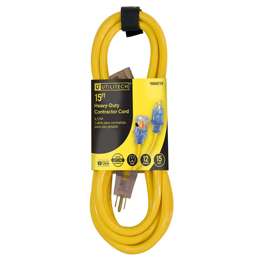 Shop Utilitech 15 Ft 15 Amp 12 Gauge Yellow Outdoor