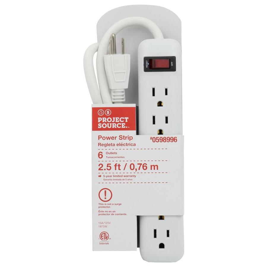 Utilitech 6 Outlet White Power Strip In The Power Strips Department At Lowes Com