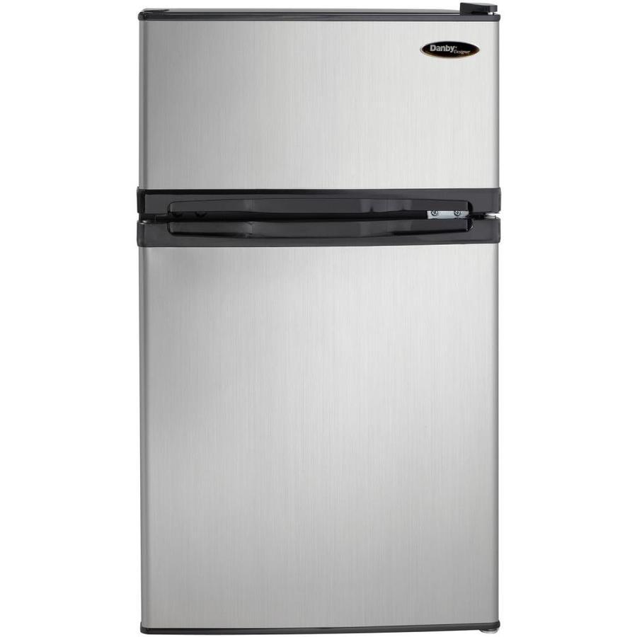 Danby Designer 3.1-cu ft Freestanding Mini Fridge Freezer Compartment (Stainless Steel)   DCR031B1BSLDD