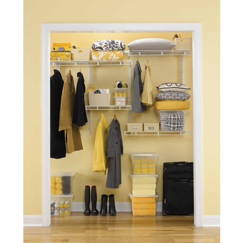 Rubbermaid White Wire Multi Purpose Closet Organizer Kit