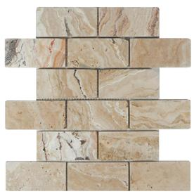 allen + roth 12-in x 12-in Beige Natural Stone Mosaic Subway Wall Tile (Actuals 12-in x 12-in) TR-05104