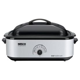 Nesco 18-Quart Silver Rectangle Porcelain Roaster Oven Wi...